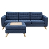 Mina Sofa Set - Stone Blue, Tufted