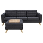 Mina Sofa Set - Charcoal Gray, Tufted