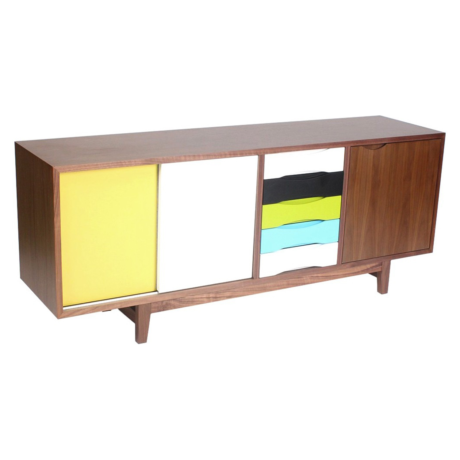 Kelda Sideboard - Walnut and Yellow