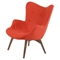 Aiden Button Tufted Upholstery Chair - Lava Red - NYEK-445544