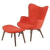 Aiden Button Tufted Upholstery Chair - Lava Red