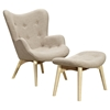 Aiden Button Tufted Upholstery Chair - Oatmeal Gray