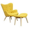 Aiden Button Tufted Upholstery Chair - Papaya Yellow