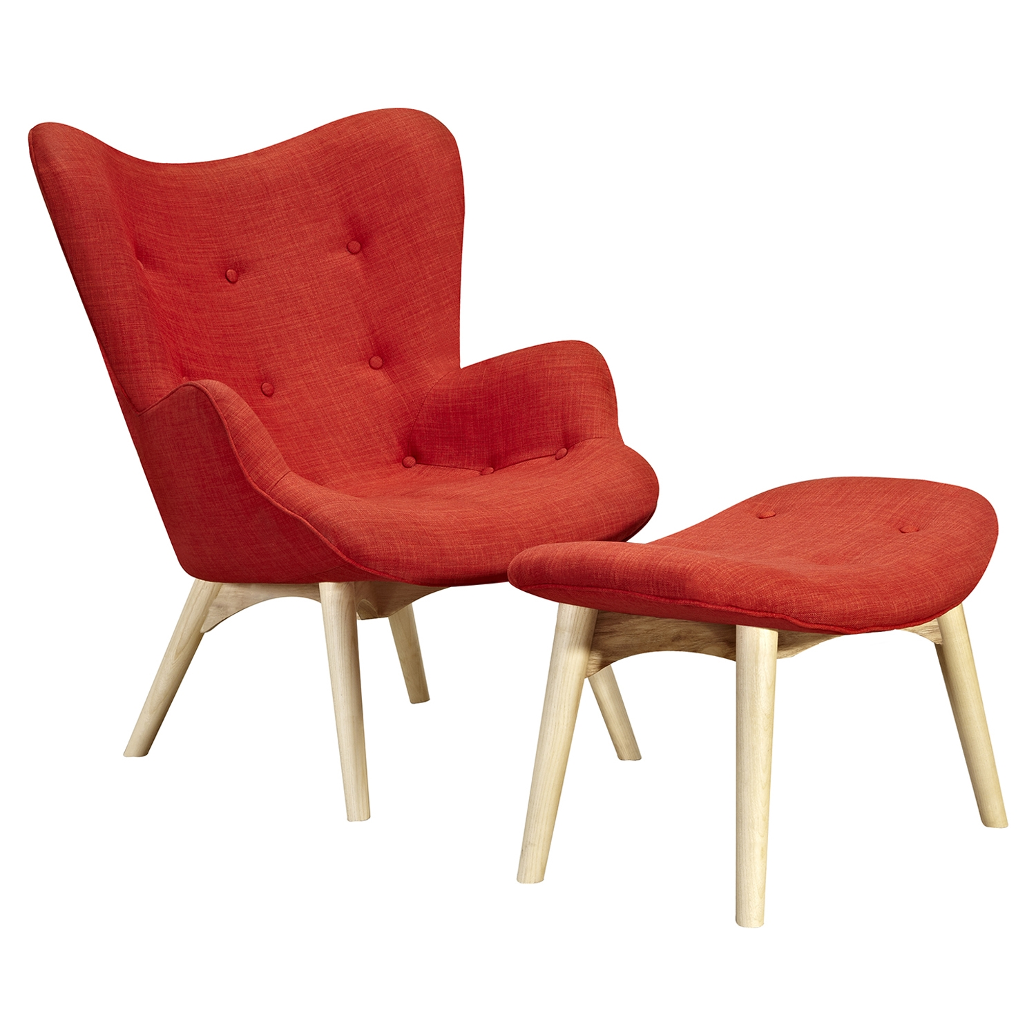 Aiden Button Tufted Chair - Lava Red
