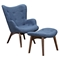 Aiden Button Tufted Upholstery Chair - Dodger Blue - NYEK-445563