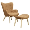 Aiden Button Tufted Upholstery Chair - Camel Brown