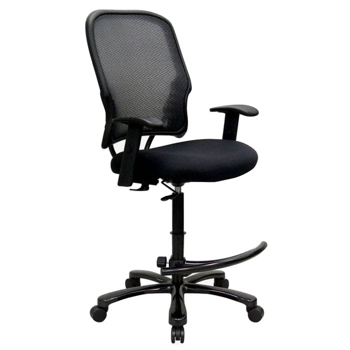 Space Seating 15 Series Big Man's AirGrid Back Drafting Chair with Adjustable Arms