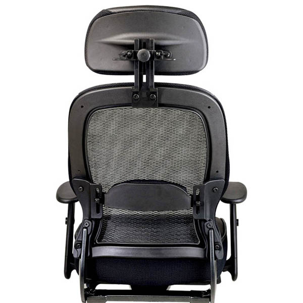 Space Seating 27 Series Professional Black Mesh Back and Leather Seat Office Chair - OSP-27008