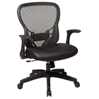 Space Seating 529 Series Deluxe R2 SpaceGrid Back with Leather Seat Office Chair - Flip Armrests