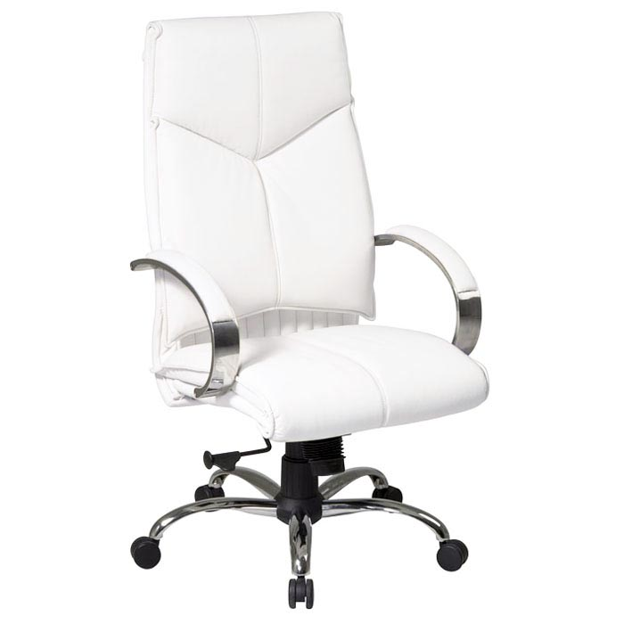 Pro-Line II 7270 - Deluxe High Back White Leather Executive Chair