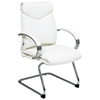 Pro-Line II 7275 - Deluxe Mid Back White Leather Visitor's Chair with Sled Base