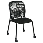 Space Seating 801 Series Deluxe SpaceFlex Black Frame Visitors Chair with Casters (Set of 2)