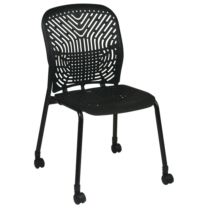 Space Seating 801 Series Deluxe SpaceFlex Black Frame Visitor's Chair with Casters (Set of 2)
