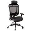 Space Seating 818 Series Executive High Back Mesh Office Chair with Adjustable Leather Headrest