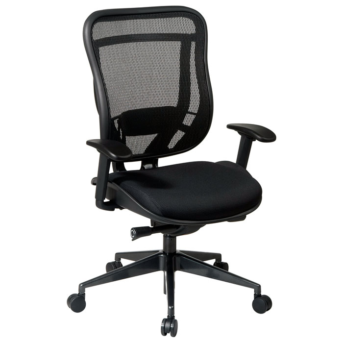 Space Seating 818 Series Executive High Back Black Office Chair