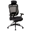 Space Seating 818 Series Executive Black Office Chair with Adjustable Headrest