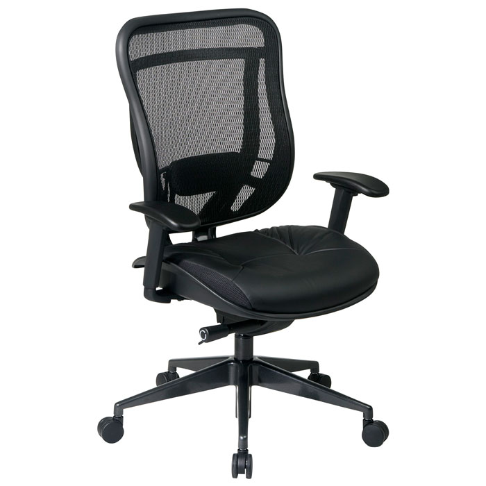 Space Seating 818 Series Executive High Back Office Chair with Leather Seat