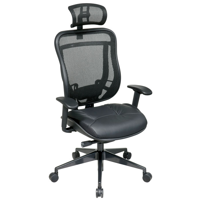 Space Seating 818 Series Executive High Back Office Chair with Mesh Headrest - OSP-818-41G9C18P-HRX818
