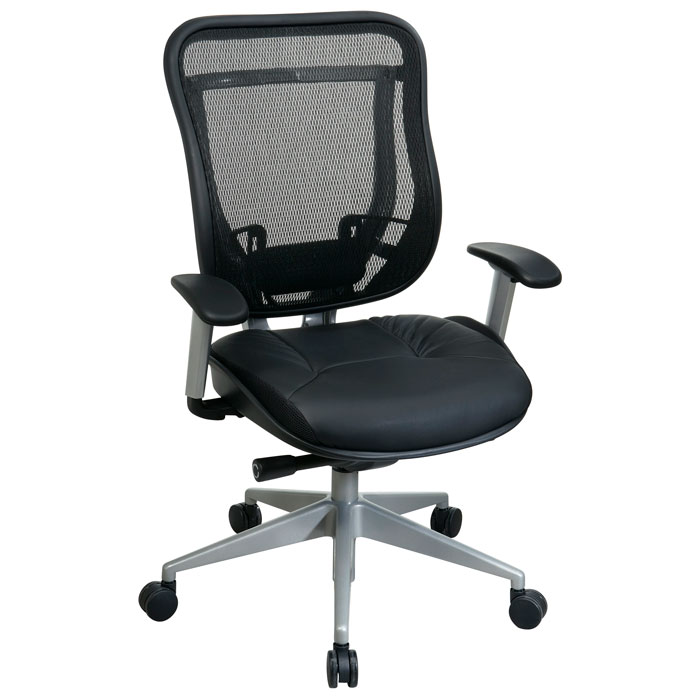Space Seating 818 Series Executive High Back Office Chair with Platinum Finished Base
