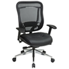 Space Seating 818A Series Executive High Back Black Office Chair with Leather Seat