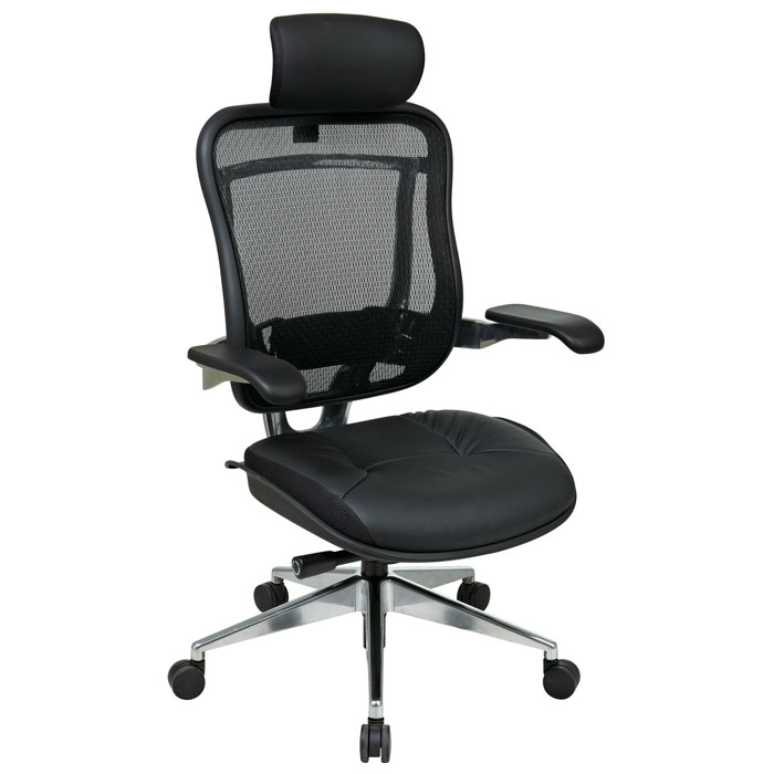 Space Seating 818A Series Executive High Back Leather Seat and Headrest Office Chair