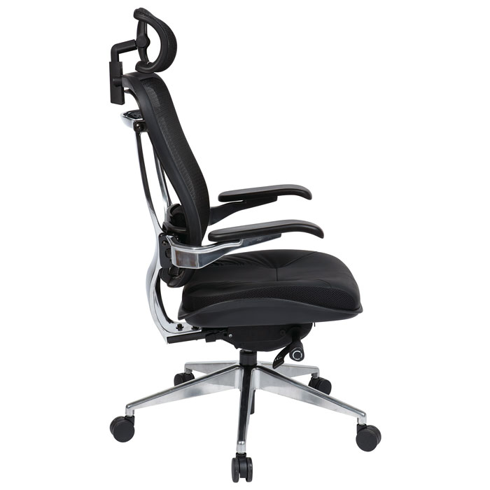 Space Seating 818A Series Executive Office Chair with Mesh Back and Headrest - OSP-818A-41P9C1C3-HRX818