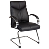 Pro-Line II 8205 - Deluxe Black Leather Visitor's Chair with Chrome Sled Base