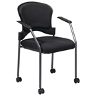 Pro-Line II Stacking Titanium Finished Rolling Visitors Chair with Nylon Arms