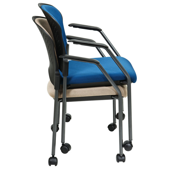 Pro-Line II Stacking Titanium Finished Rolling Visitor's Chair with Nylon Arms - OSP-82740