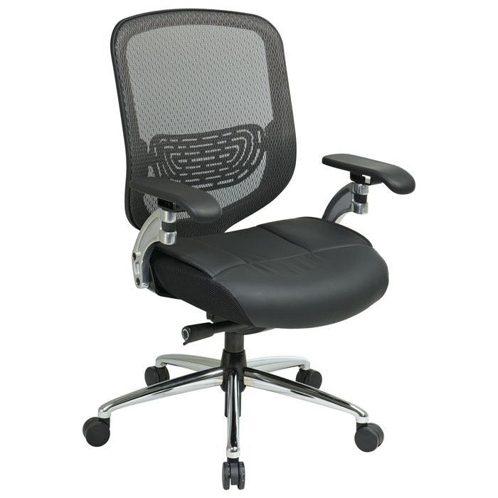 Space Seating 829 Series Breathable Mesh Back with Leather Seat Office Chair - OSP-829-52P5C1C8