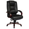 Pro-Line II 8500 - Deluxe Leather Executive Chair with Mahogany Finished Base