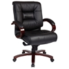 Pro-Line II 8501 - Deluxe Mid Back Leather Executive Chair with Mahogany Finished Base