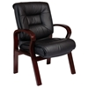 Pro-Line II 8505 - Deluxe Leather Visitor's Chair with Wood Legs