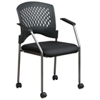 Pro-Line II Stacking Ventilated Back Rolling Visitors Chair with Nylon Arms