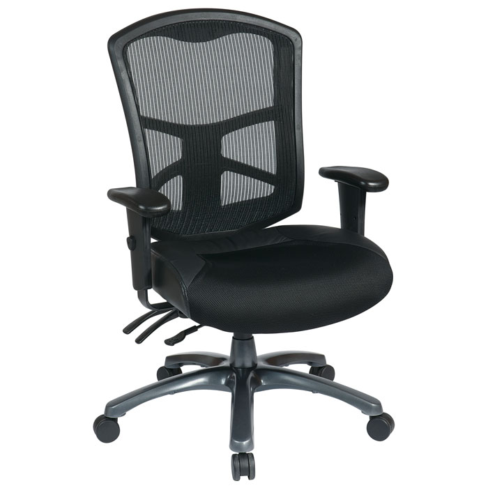 Pro-Line II ProGrid Back Office Chair with Leather and Mesh Seat - OSP-95344