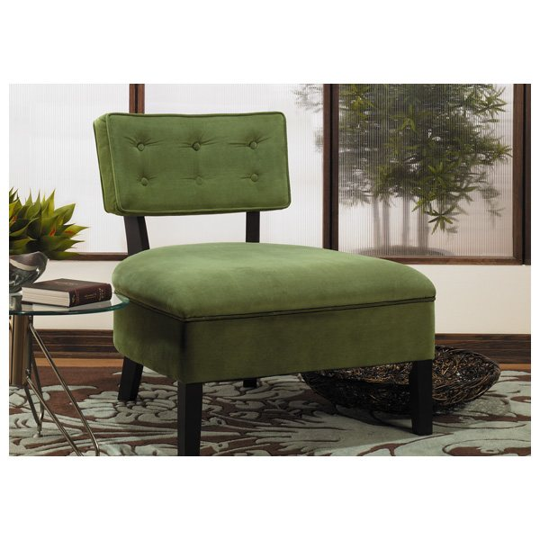 Avenue Six Curves Spring Green Button Back Chair