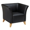 Black Leather Club Chair with Flared Arms