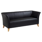 Black Leather Sofa with Custom Finish Feet