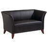 Contemporary Flared Arm Loveseat in Black Leather