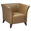 Taupe Leather Flared Arm Club Chair