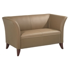 Contemporary Loveseat with Cherry Finished Feet