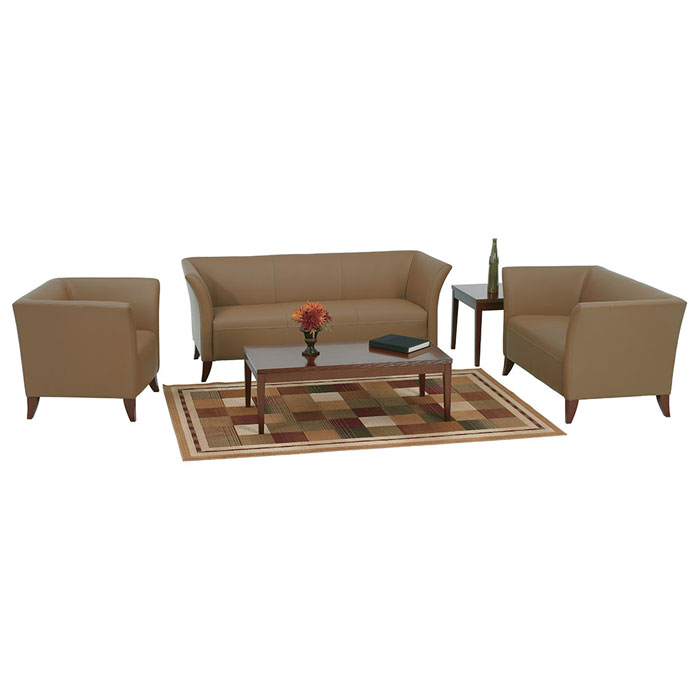 Armchair, Loveseat, and Sofa Set in Taupe Leather