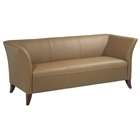 flared Arm Sofa in Taupe Leather