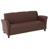 Breeze Contemporary Eco-Leather Sofa with Cherry Finished Feet