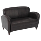Embrace Mocha Eco-Leather Loveseat with Cherry Finished Feet