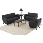 Eleganza Armchair, Loveseat, and Sofa Set in Black Eco-Leather