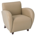 Eleganza Taupe Eco-Leather Club Chair with Curved Arms
