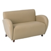 Eleganza Curved Arms Loveseat in Taupe Eco-Leather