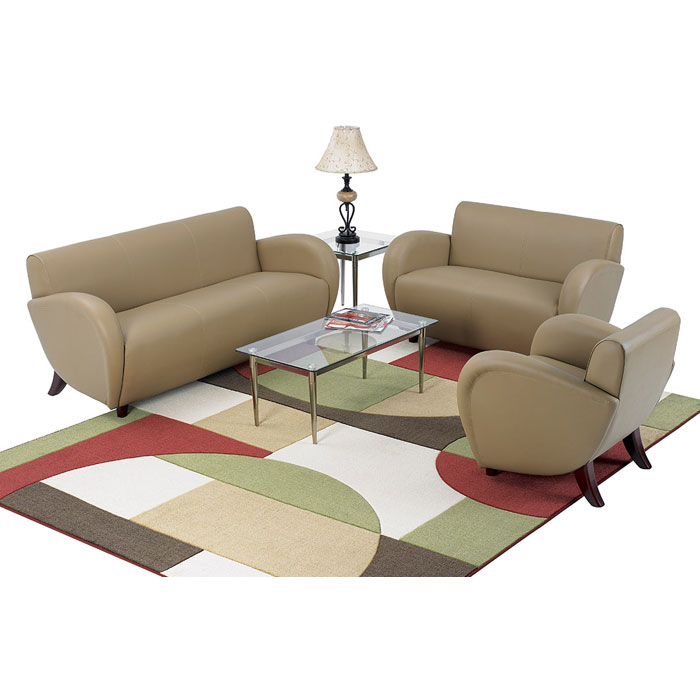 Eleganza Taupe Eco-Leather Armchair, Loveseat, and Sofa Set with Cherry Finished Feet