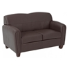 Pillar Espresso Loveseat with Cherry Finished Feet